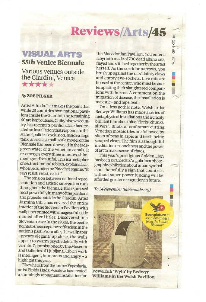 The Independent's review of The Starry Messenger at the 55 Venice Art Biennale
